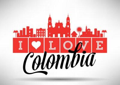 Quadro Amo Colombia Skyline design