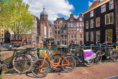 Quadro Amsterdam con le bici sul ponte in Olanda