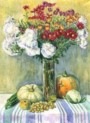 Quadro Ancora vita con un mazzo di fiori, frutta e verdura. pittura ad acquerello