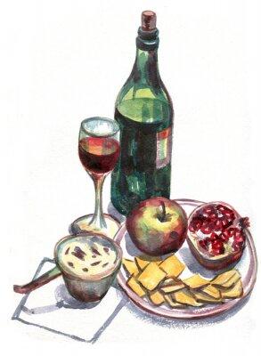 Quadro Ancora vita con vino e frutta. pittura ad acquerello