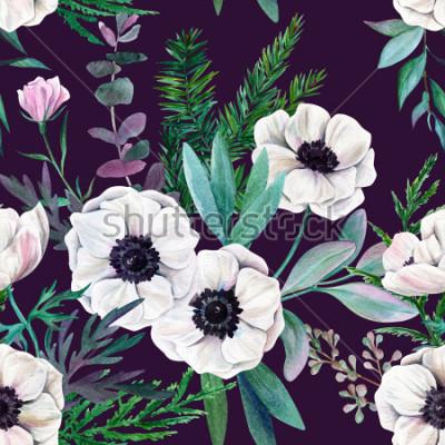 Quadro Anemoni bianchi e foglie su sfondo viola. Modello senza cuciture dell'acquerello, a colori, illustrazione disegnata a mano.