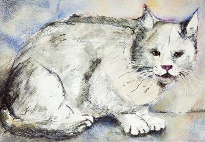Quadro Angry gatto grigio. La tecnica tamponando vicino ai bordi dà un effetto soft focus dovuto alla rugosità superficiale alterata della carta.