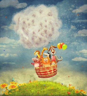 Quadro Animali felici in mongolfiera nel cielo - illustrazione arte