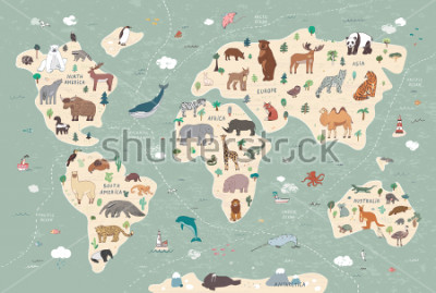 Quadro Animals on world map illustrations  hand drawn vector set