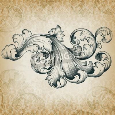Quadro annata elemento floreale di scorrimento in filigrana disegno frameborder acanto modello dell'incisione barocco presso retrò grunge sfondo damascato