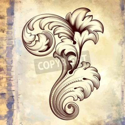 Quadro annata elemento floreale incisione scorrere in filigrana disegno frameborder acanto modello barocco al grunge retrò