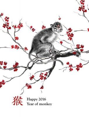Quadro anno biglietto di auguri di scimmia. Una scimmia seduto su un ramo di fiori di ciliegio, pittura a inchiostro orientale. Con geroglifico cinese