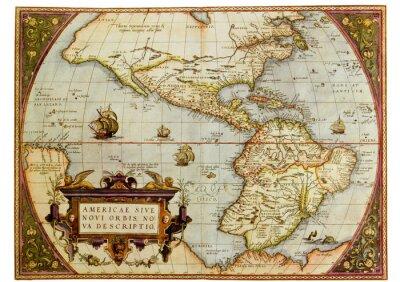 Quadro Antica mappa delle Americhe. Foto dal vecchio riproduzione