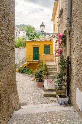 Quadro Antica strada nel centro storico di un villaggio del sud Italia