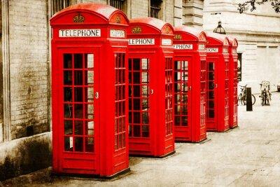 Quadro Antik texturiertes Bild roter Telefonzellen a Londra