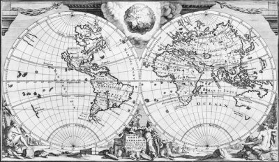 Quadro Antique world map of the 18th century, in black and white