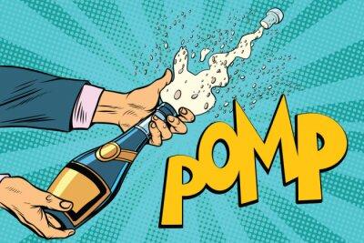 Quadro Apertura bottiglie di champagne pop art
