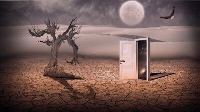 Quadro Aprire porta mostrano una scena di spazio in qualche modo semitrasparente in Stran