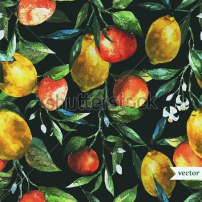 Quadro arancio, limone, acquerello, sfondo, scuro, motivo