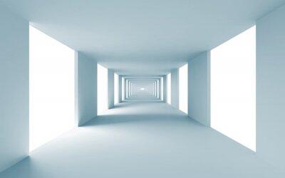 Quadro Architettura astratto sfondo 3d, corridoio vuoto blu