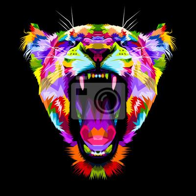 Quadro arrabbiato leoni colorati su stile pop art