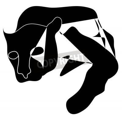 Quadro Art cubism black silhouette of black pantera