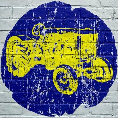 Quadro Arte di strada. Trattore agricolo grunge