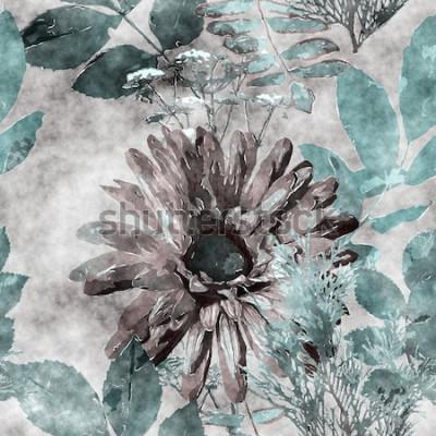 Quadro arte vintage acquerello colorato motivo floreale senza soluzione di continuità con grande gerbera, foglie ed erbe sullo sfondo