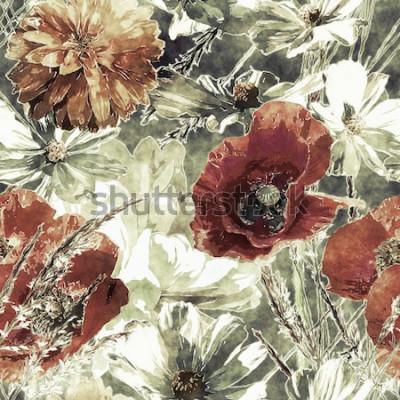 Quadro arte vintage acquerello colorato motivo floreale senza soluzione di continuità con papaveri rossi e bianchi, peonie, aster, foglie ed erbe su sfondo verde scuro