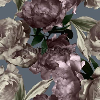 Quadro arte vintage monocromatica grafica e acquerello motivo floreale senza soluzione di continuità con peonie bianche e viola su sfondo grigio