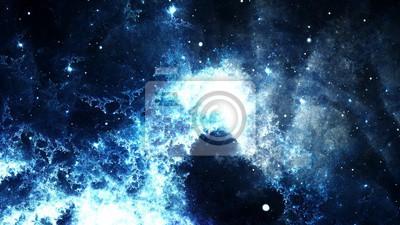 Quadro astratto digitale di un luminoso e colorato galassia nebulosa e stelle