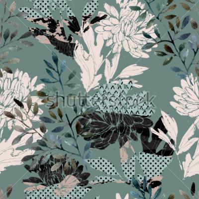 Quadro Astratto motivo floreale senza soluzione di continuità. Fiori ad acquerelli, foglie piene di texture minimal doodle. Sfondo naturale Illustrazione di autunno dipinto a mano per tessuto, tessuto, confe