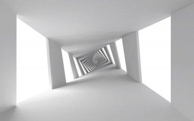 Quadro Astratto sfondo 3d con il bianco intrecciato corridoio a spirale