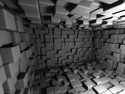 Quadro Astratto sfondo scuro cubi Camera muro