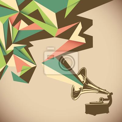 Quadro Astrazione angolare con il vecchio grammofono.