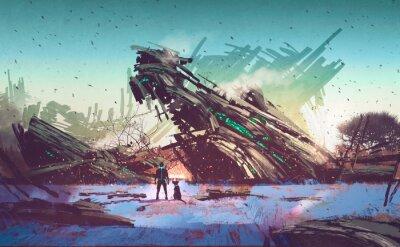 Quadro astronave si è schiantato sul campo blu, illustrazione pittura