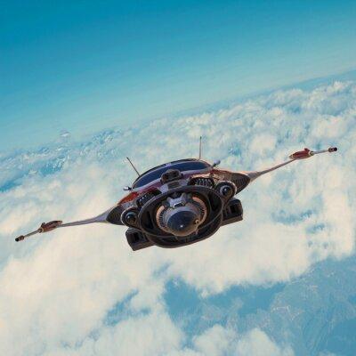 Quadro astronave sul cielo blu