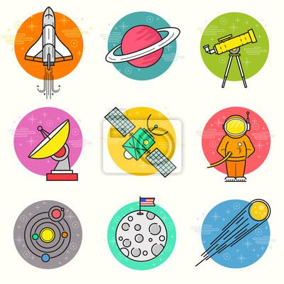 Quadro Astronomia Vector Icon Set. Una raccolta di spazio a tema icone linea, tra cui un pianeta, razzo, astronauta e sistema solare. Layered illustrazione vettoriale.