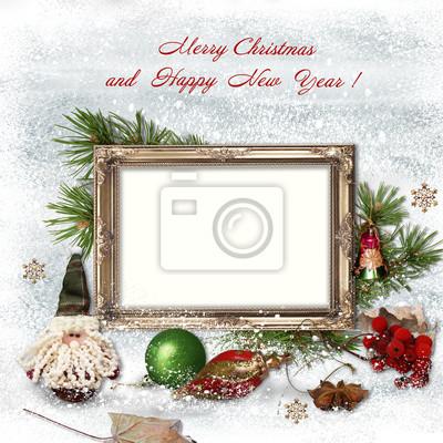 Auguri Di Natale Per La Famiglia.Auguri Di Natale Con Cornici Per Una Famiglia Dipinti Da Parete