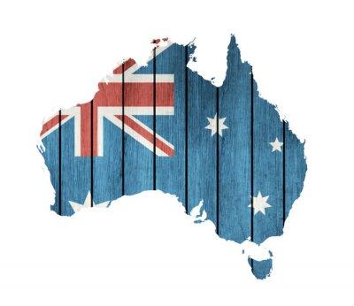 Quadro Australiana Mappa Con Bandiera di legno
