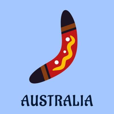 Quadro Australiano nazionale isolato colorato boomerang
