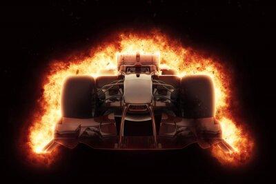 Quadro auto da corsa 3D con effetto esplosione di fuoco