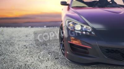 Quadro Auto di lusso ravvicinato mentre il sole tramonta dietro le quinte.