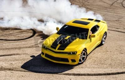 Quadro Auto di lusso sportiva gialla drifting, motion capture