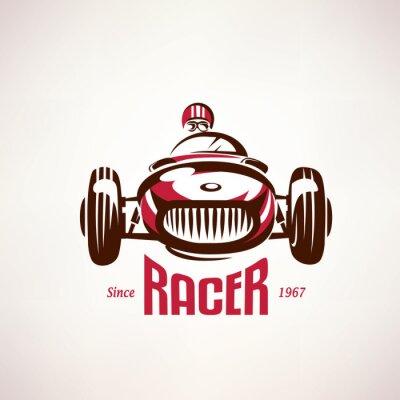Quadro auto retrò corsa, simbolo vettoriale vintage, emblema, modello di etichetta