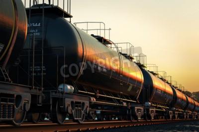 Quadro auto serbatoio trasporto con olio durante il tramonto.