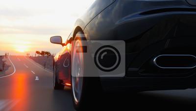 Quadro auto sportiva nera sulla strada, autostrada. guida molto veloce. rendering 3d.