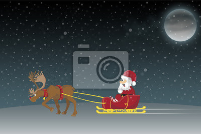 Babbo Natale Con Le Renne.Babbo Natale In Una Slitta Con Renne Dipinti Da Parete Quadri