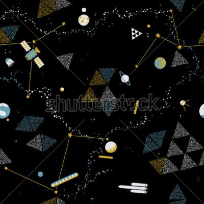 Quadro Baby seamless pattern - spazio, astronavi e pianeti con le stelle. Priorità bassa di vettore di bambini alla moda.