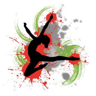 Quadro Ballerino di fronte a sfondo colorato con macchie di colore