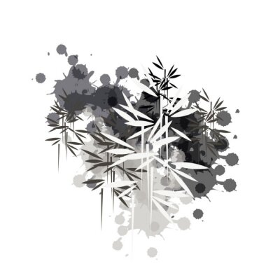 Quadro bamboo forest illustration in black ink