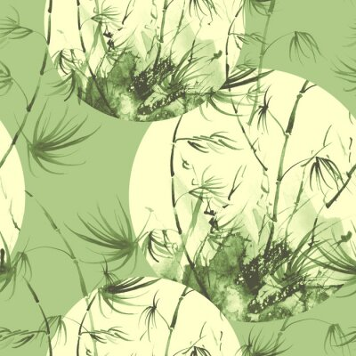 Quadro Bamboo watercolor stems and leaves seamless pattern. painting of bamboo forest on textured paper. Decorative watercolor bamboo, jungle, thickets. silhouette branches, tropics