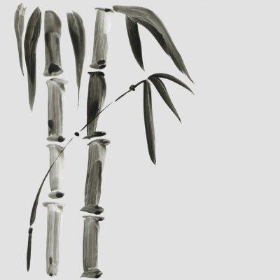 Quadro Bambù nello stile della pittura giapponese. Illustrazione disegnata a mano dell'acquerello tradizionale bella
