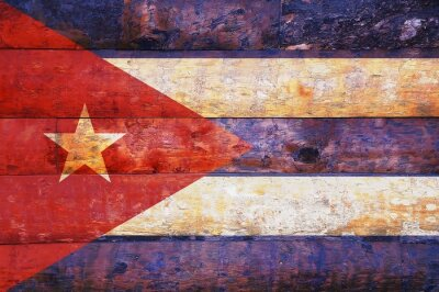 Quadro Bandiera Cuba vecchio legno.