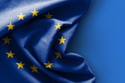 Quadro Bandiera d'Europa su sfondo blu